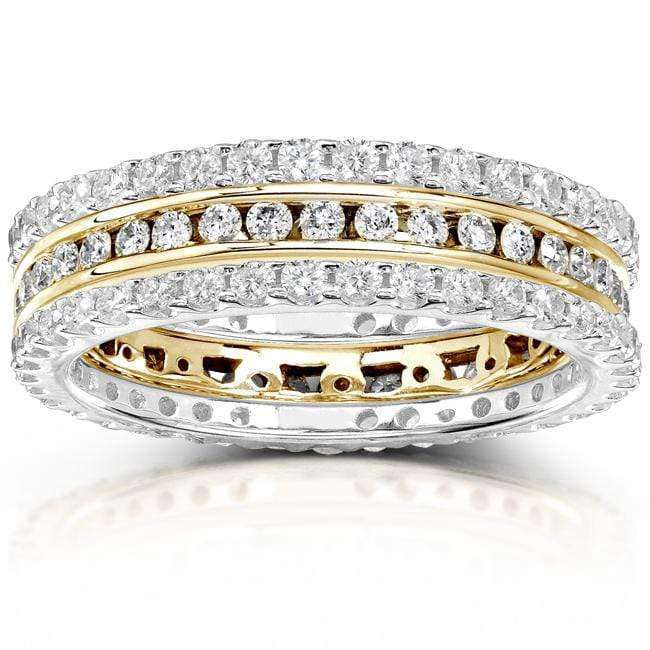 Kobelli Round Diamond 1 1/2 Carat (ctw) Stackable Eternity Bands in 14k Gold (3 Piece Set)