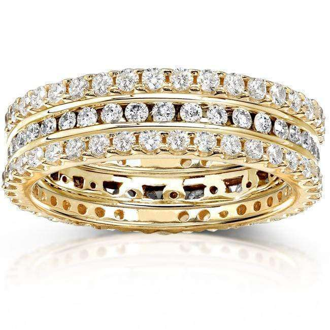 Kobelli Round Diamond 1 1/2 Carat (ctw) Stackable Eternity Bands in 14K Yellow Gold (3 Piece Set)