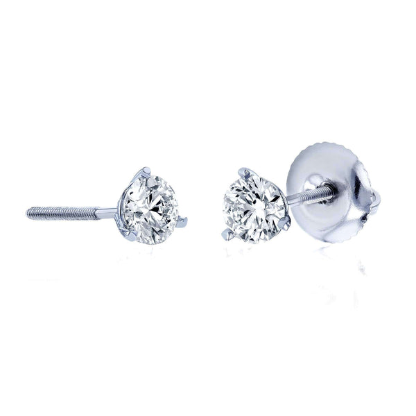 Kobelli Lab Grown Diamond Screw Back Martini Stud Earrings 1/2ctw in 18k White Gold (IGI Certified) F71405X