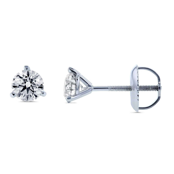 Kobelli Lab Created Diamond Screw Back Martini Stud Earrings 3/5ctw in 18k White Gold (IGI Certified) F71407X