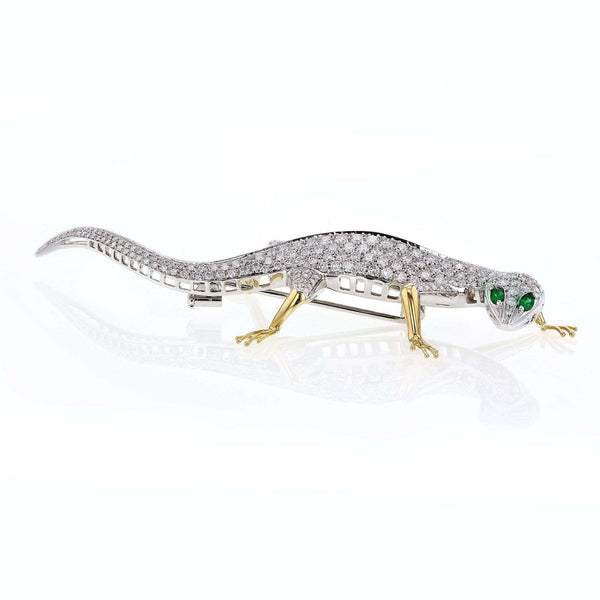 Kobelli [pre-owned] Diamond Gecko Brooch 9 1/2 Carats TDW 18k Two Tone Gold 71446X