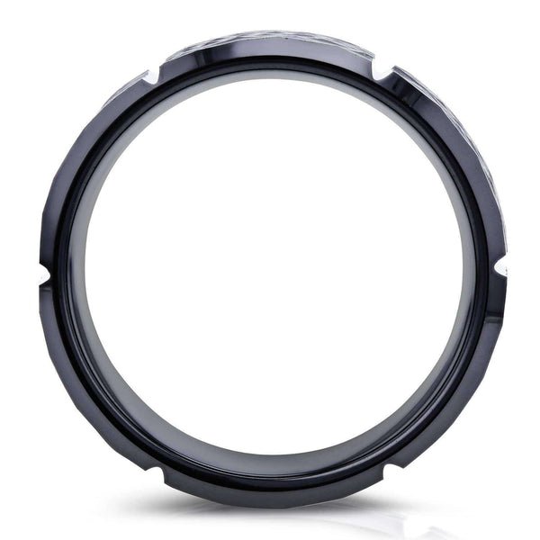 Kobelli 8mm Beveled Edge Comfort Fit Mens Black Ceramic Wedding Band