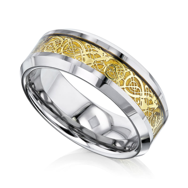 Kobelli Gold Celtic Dragon Beveled Tungsten Mens Ring