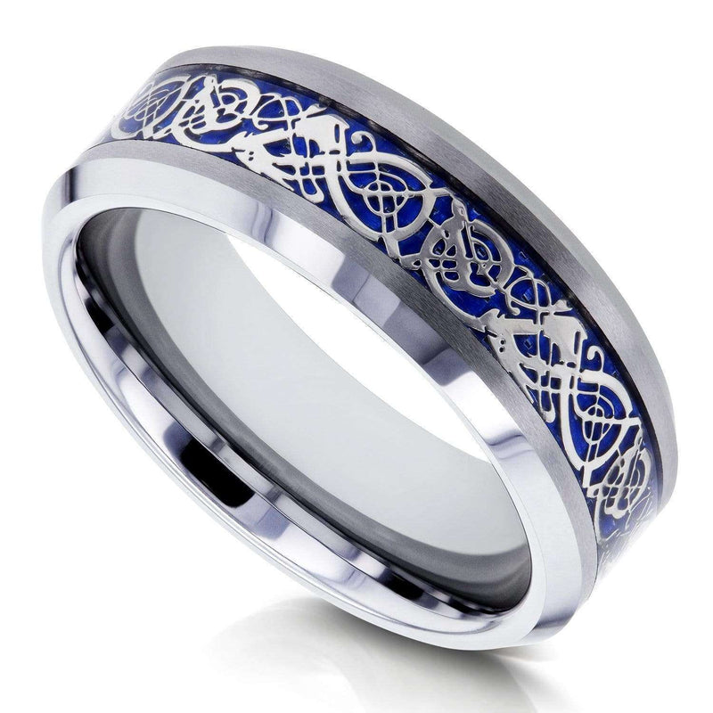 Kobelli 8mm Celtic Dragon High Polish Comfort Fit Mens Tungsten Carbide