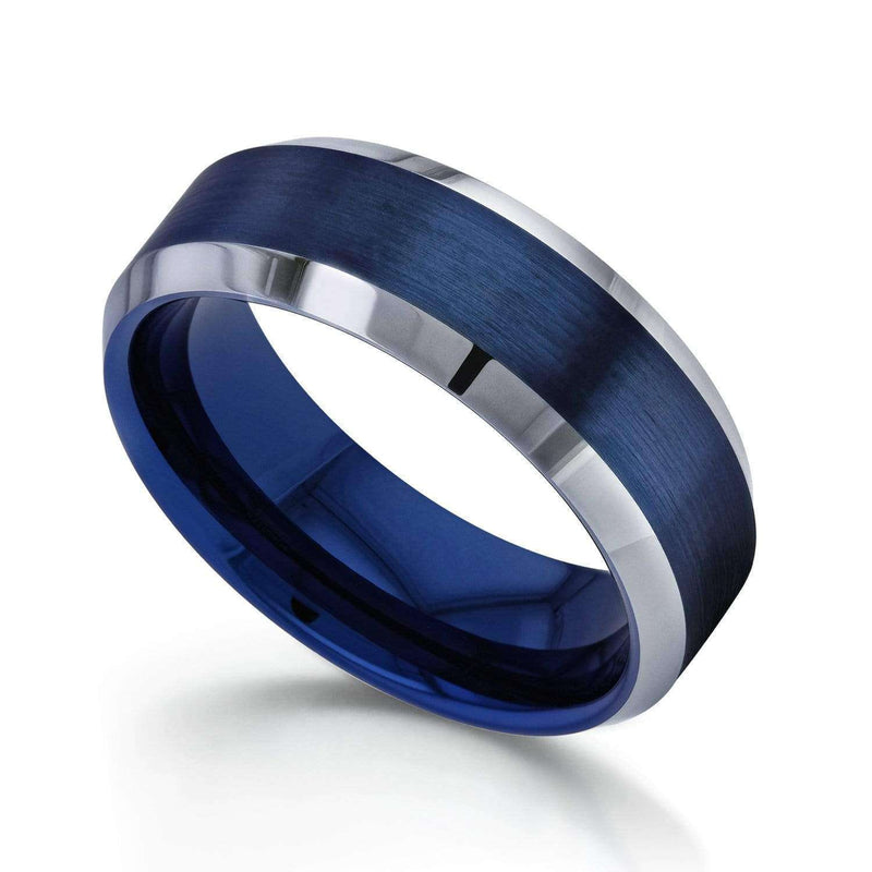 Kobelli 8mm Electric Blue Brushed Finish Comfort Fit Beveled Edge Mens Tungsten Band Ring