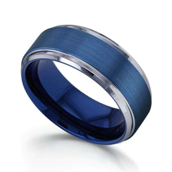 Kobelli 9mm Electric Blue Brushed Finish Comfort Fit Beveled Edge Mens Tungsten Band Ring