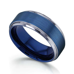 9mm Electric Blue Brushed Finish Comfort Fit Beveled Edge Mens Tungsten Band Ring