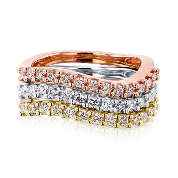 Kobelli Wavy Three Piece Stackable Diamond Band