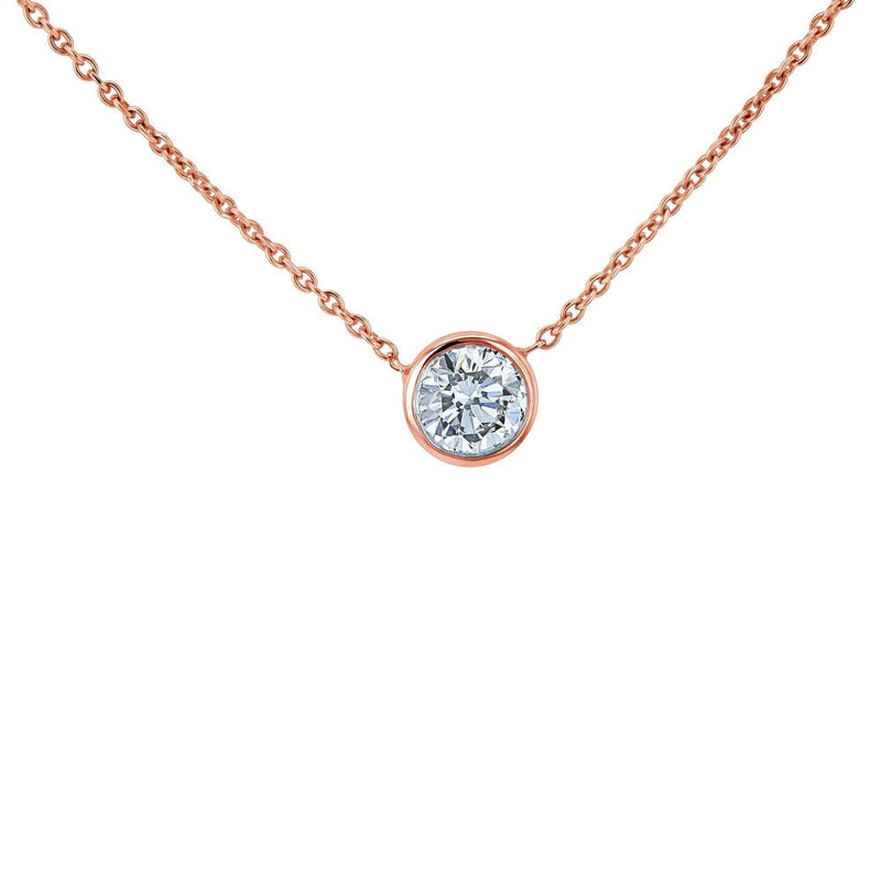 Kobelli Lab Grown Diamond Solitaire Bezel Gold Necklace LG6698R-50-R