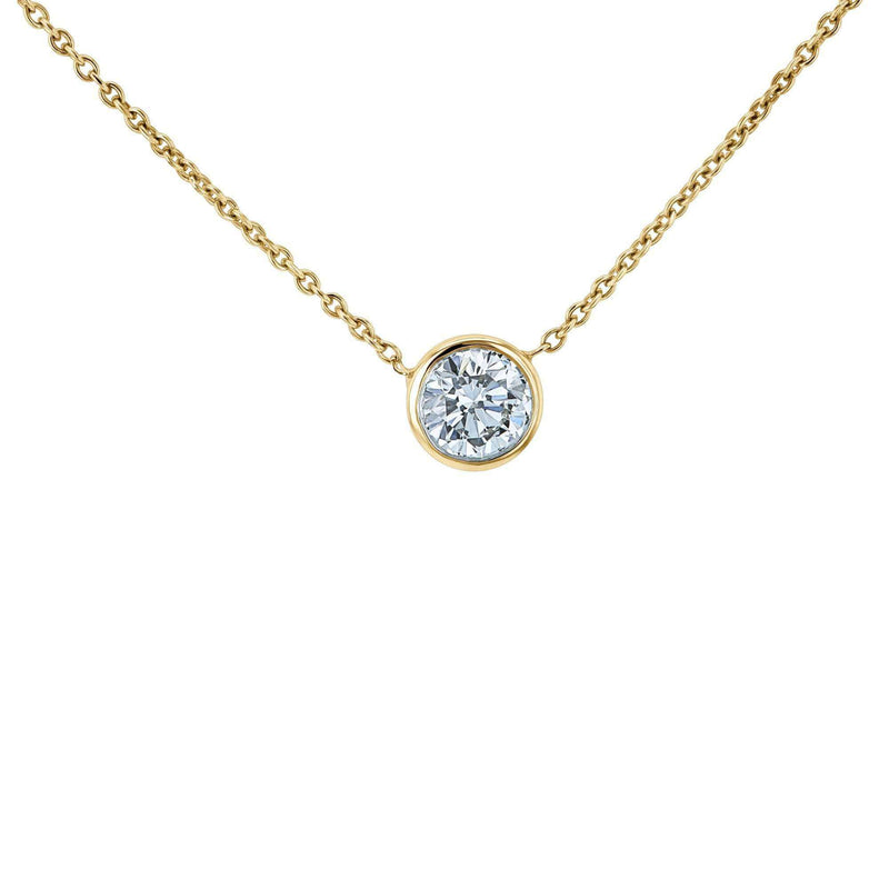 Kobelli Lab Grown Diamond Solitaire Bezel Gold Necklace LG6698R-50-Y