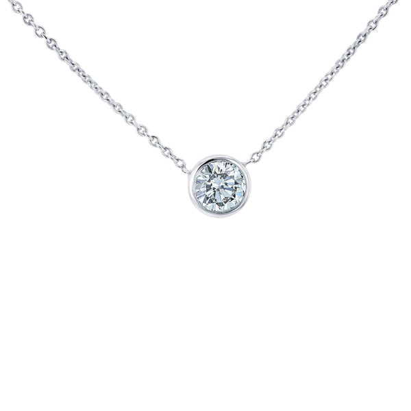 Kobelli Lab Grown Diamond Solitaire Bezel Gold Necklace LG6698R-50-W