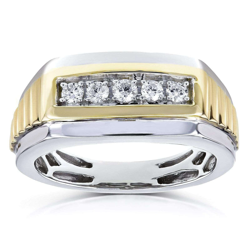 Kobelli Mens Ring Channel Round Diamonds 1/4 Carat (ctw) in 10k Two Tone Gold