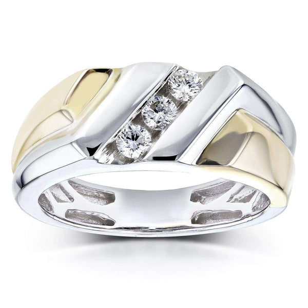 Kobelli Mens Ring Diagonal Channel Round Diamonds 1/4 Carat (ctw) in 10k Two Tone Gold