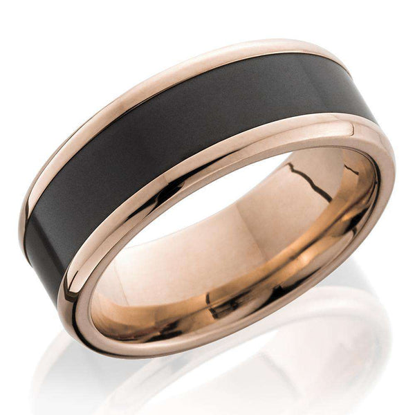 Kobelli Two Tone 18k Rose Gold and Black Elysium Beveled Edge 8mm Band