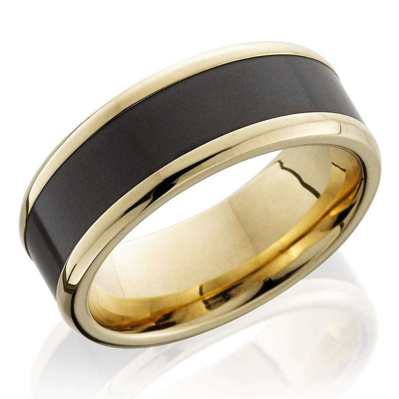 Kobelli Two Tone 18k Yellow Gold and Black Elysium Beveled Edge 8mm Band