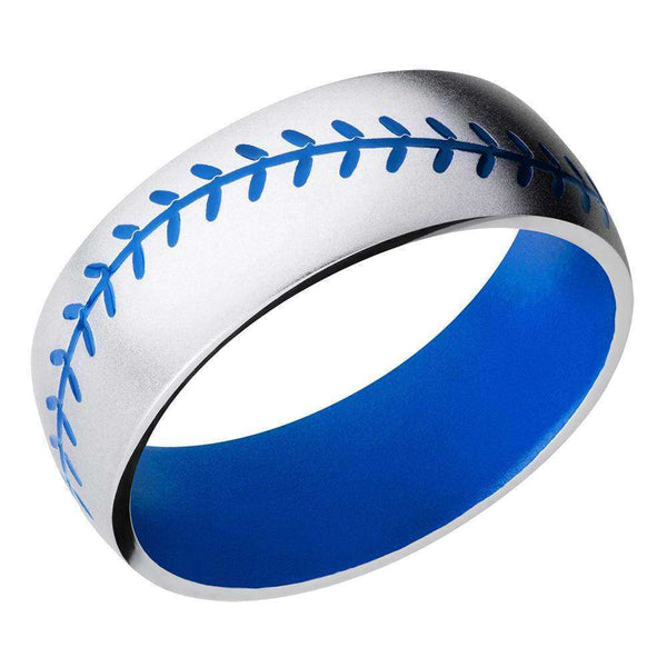 Kobelli Baseball Pattern Blue Cerakote Cobalt Chrome 8mm Band