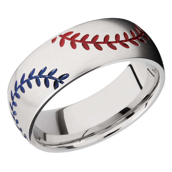 Kobelli Baseball Pattern Red and Blue Cerakote Cobalt Chrome 8mm Band