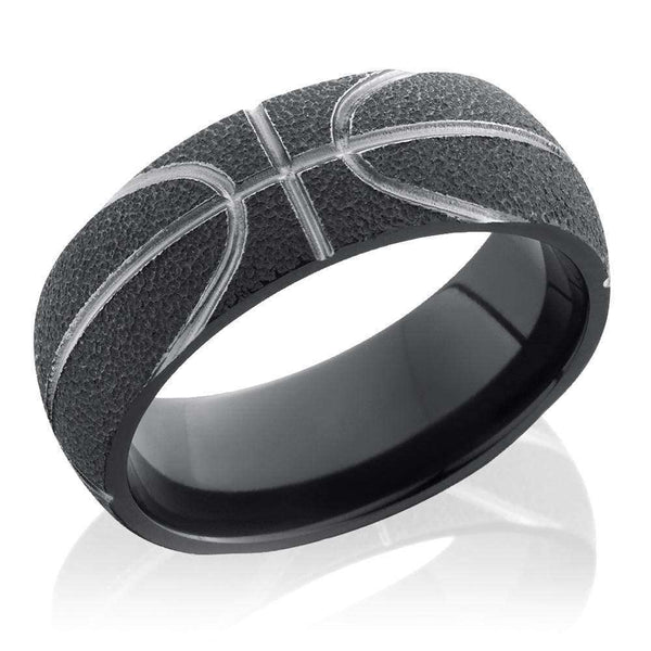 Kobelli Basketball Pattern Zirconium Domed 8mm Band