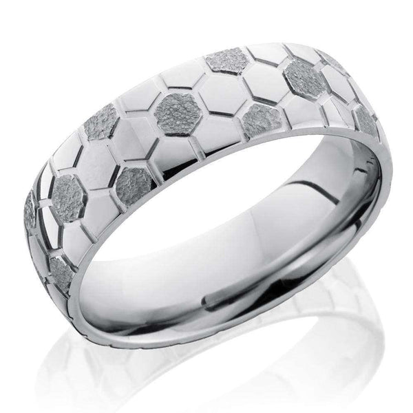 Kobelli Soccer Pattern Cobalt Chrome Domed 7mm Band