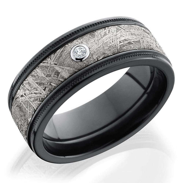 Kobelli Zirconium with Gibeon Meteorite Inlay and Bezel-set Diamond Grooved 8.5mm Flat Band