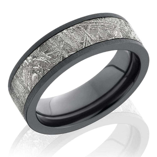 Kobelli Zirconium with Meteorite Inlay 7mm Flat Band