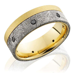 Kobelli 18k Yellow Gold with Meteorite Inlay and Seven Black Diamonds 8mm Band