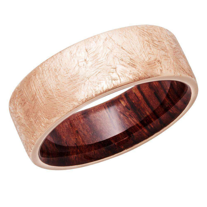 Kobelli Rustic 14k Coarse Brush Textured Rose Gold 8mm Band with Natcoco Hardwood Sleeve