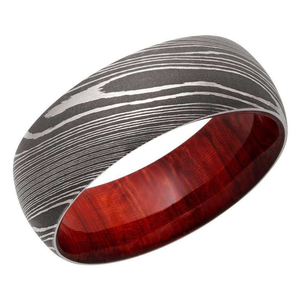 Kobelli Damascus Steel 8mm Domed Band with Padauk Hardwood Sleeve