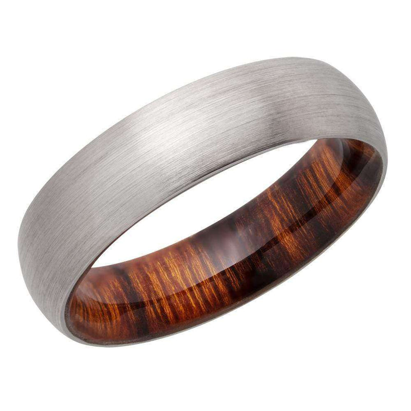 Kobelli Titanium 6mm Domed Band with Desert Ironwood Hardwood Sleeve