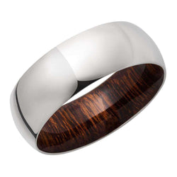 Kobelli Titanium 8mm Domed Band with Desert Ironwood Hardwood Sleeve