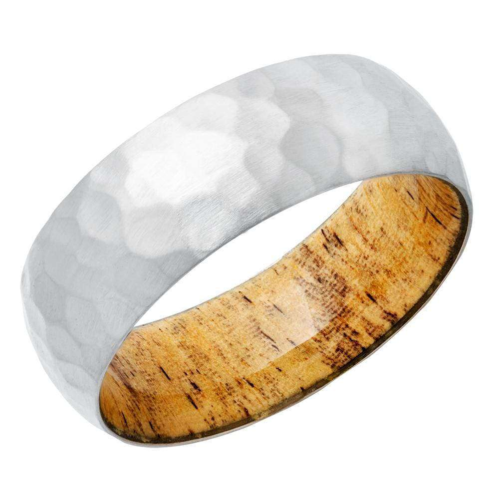Discounts Titanium 8mm Domed Band with Spalted Tamarand Hardwood Sleeve - 13