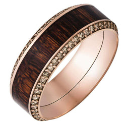 Kobelli 18k Rose Gold Band Fused with Mexican Cocobollo Hardwood Inlay and Champagne Diamonds