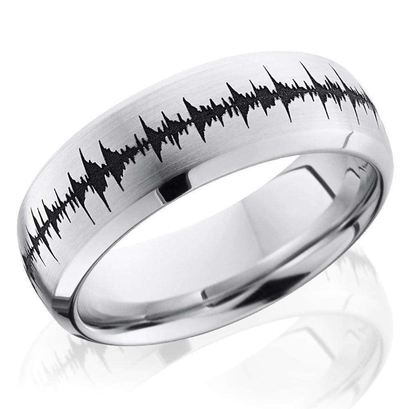 Kobelli Cobalt Chrome 8mm Domed Band with Beveled Edges and Laser Carved Wave