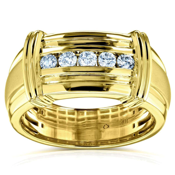 Kobelli Channel Diamond Unisex Wedding Band 1/5 CTW in 10k Yellow Gold
