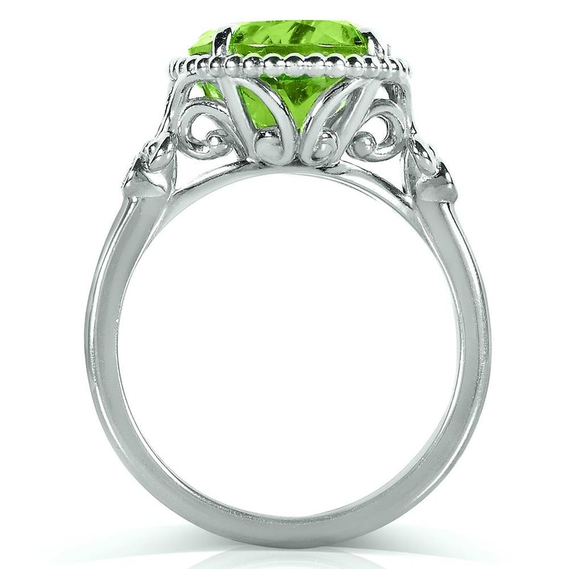 Kobelli Oval Peridot and Diamond 14k White Gold Plated Silver Ring (4 4/5 CTW)