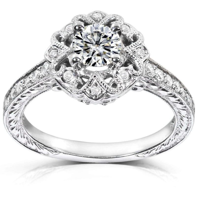 Kobelli Moissanite (HI) and Diamond Floral Antique Engagement Ring 2/3 CTW 14k White Gold