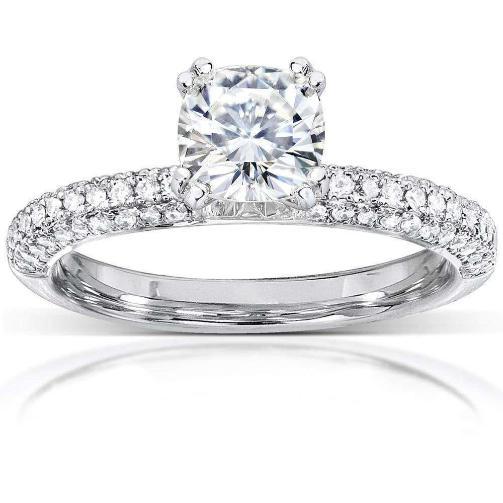 Discounts Cushion Cut Moissanite and Diamond Micropave Engagement Ring 1 1/3 CTW 14k White Gold (FG/VS GH/I) - 4.5