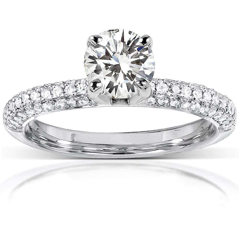 Cheap Round Cut Moissanite and Diamond Micropave Engagement Ring 1 1/4 CTW 14k White Gold (FG/VS GH/I) - 8.5
