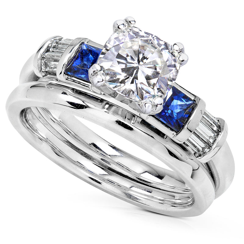 Kobelli Cushion Moissanite Bridal Set with Sapphire and Diamond 1 1/2 CTW 14k White Gold