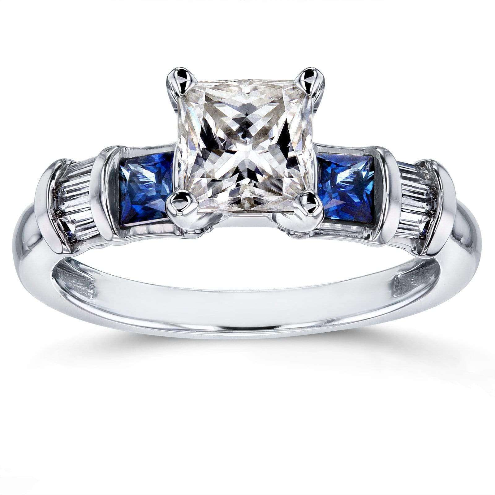 Reviews Princess Moissanite Engagement Ring with Sapphire and Diamond 2 TCW 14k White Gold - 4.5