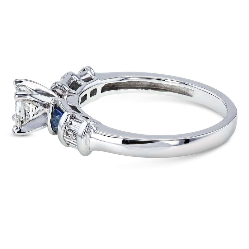 Kobelli Princess Moissanite Engagement Ring with Sapphire and Diamond 1 1/3 CTW 14k White Gold