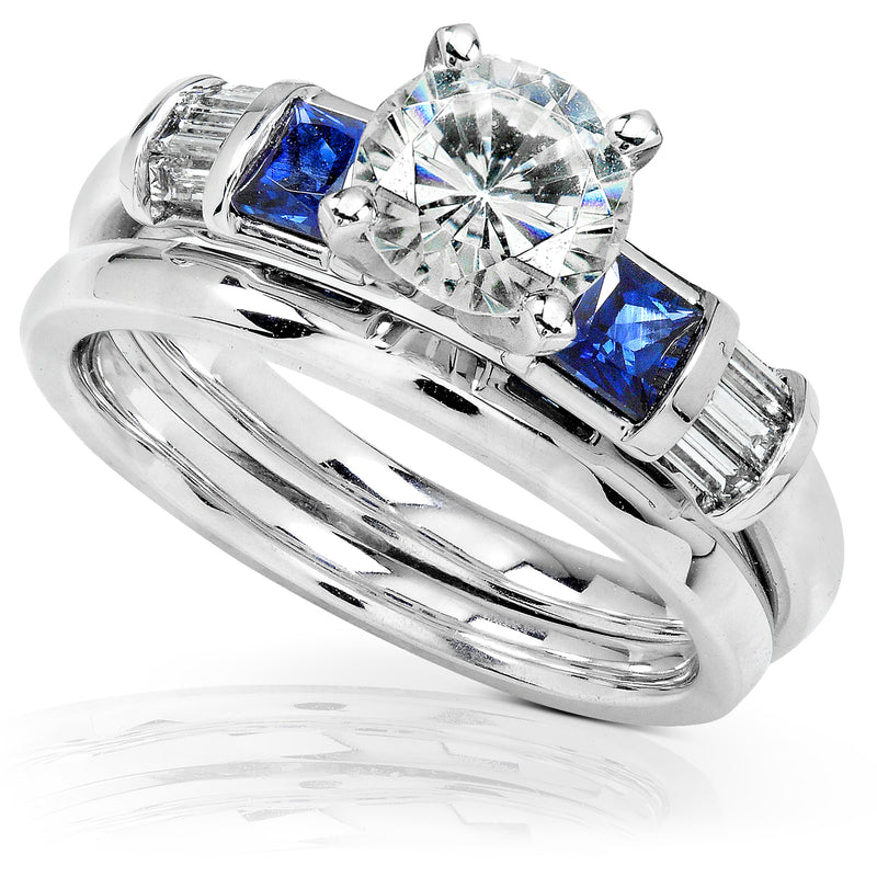 Kobelli Round Moissanite Bridal Set with Sapphire and Diamond 1 1/2 CTW 14k White Gold