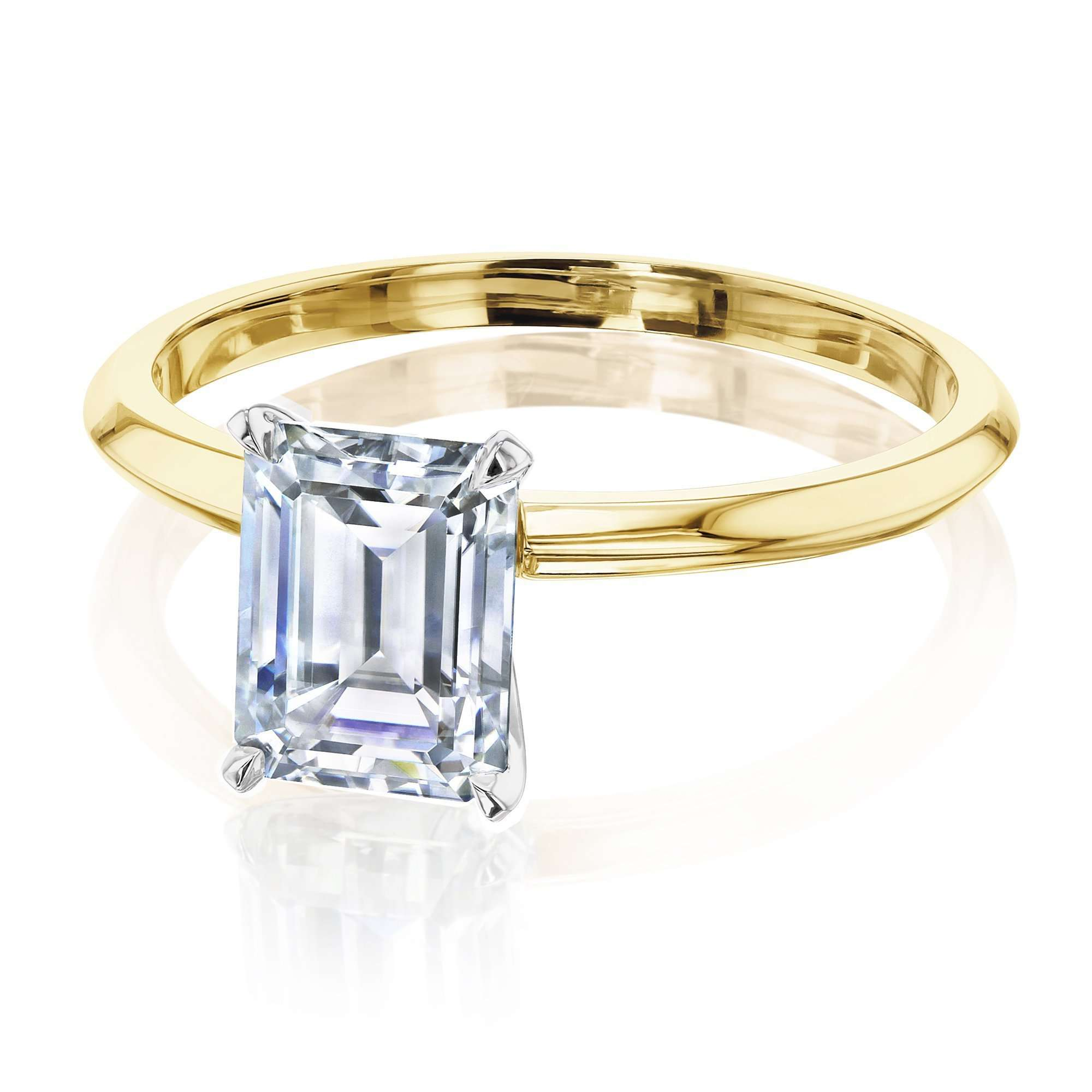Discounts 1.75ct Emerald Moissanite Solitaire Ring - yellow-gold 10.0 Kobelli F-G
