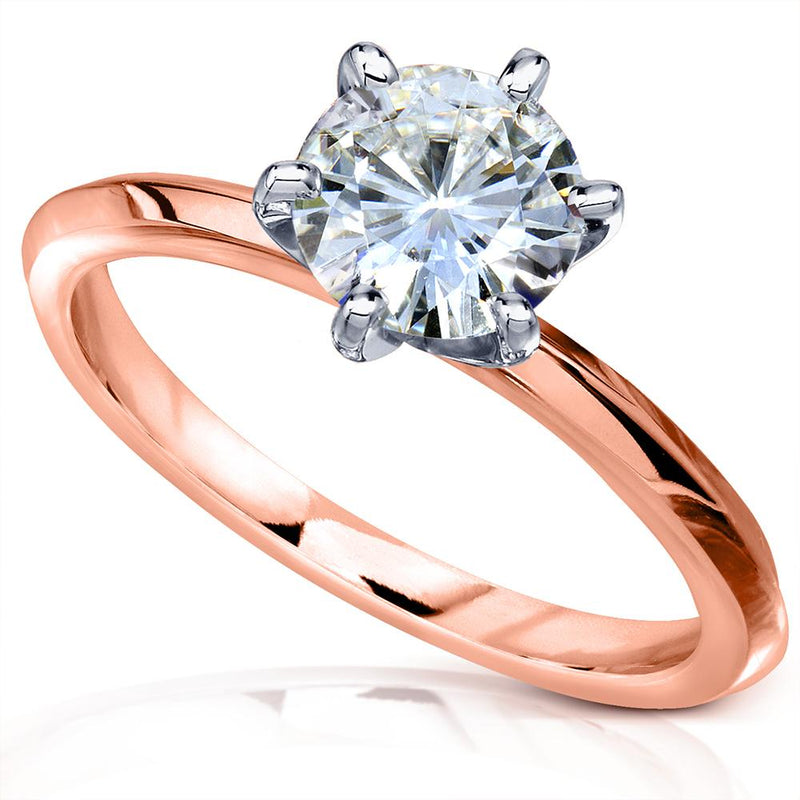 Classic 1ct Solitaire Round Brilliant Moissanite Engagement Ring 14k Gold