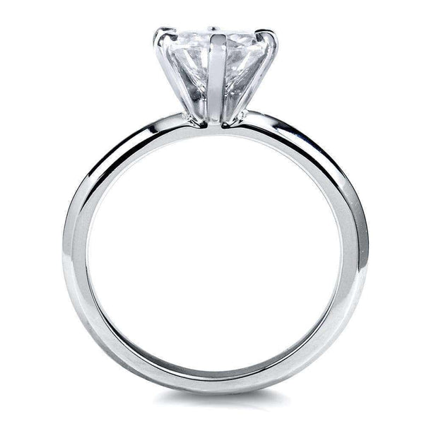 1ct Classic Solitaire Round Moissanite Ring, Platinum (HI, VS)
