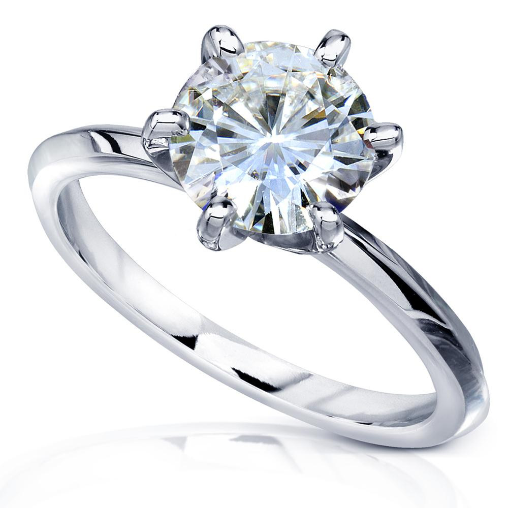 Discounts Classic 2ct Solitaire Forever One Moissanite Engagement Ring 14k Gold - 9.5 white-gold
