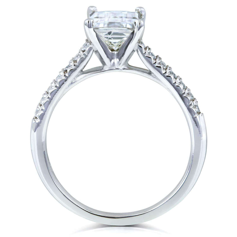Kobelli Emerald Moissanite Engagement Ring with Diamond 1 7/8 CTW 14k White Gold