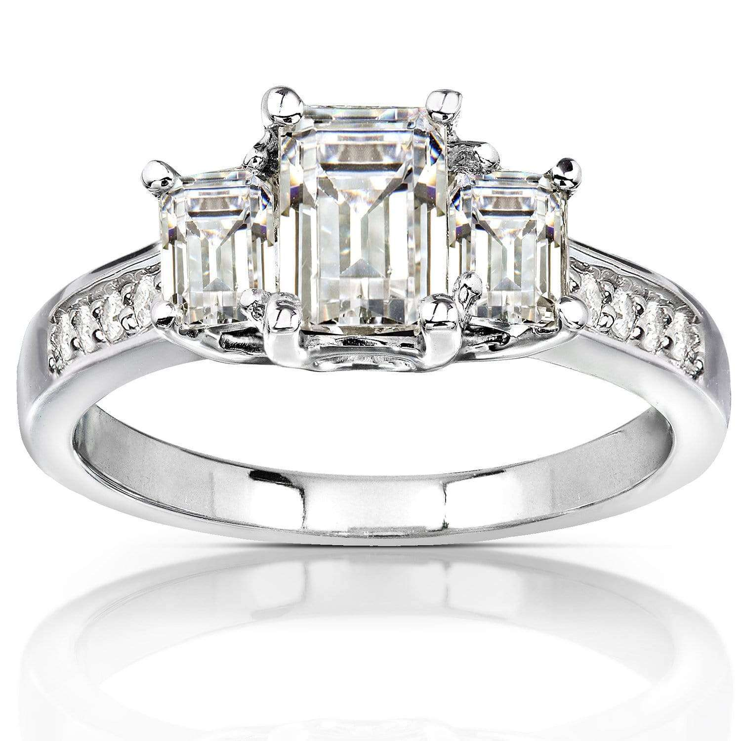 Reviews Three-Stone Near Colorless (FG) Moissanite Engagement Ring with Diamond Accents 1 3/5 CTW 14k White Gold - 8