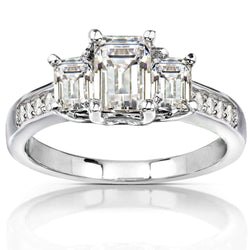 Kobelli Three-Stone Near Colorless (FG) Moissanite Engagement Ring with Diamond Accents 1 3/5 CTW 14k White Gold