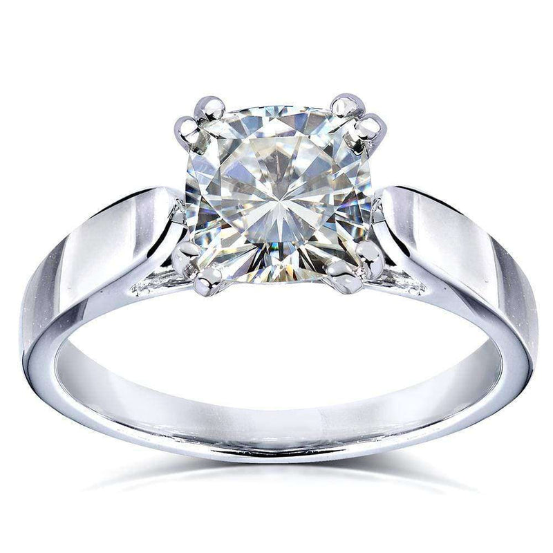 Kobelli Cushion-Cut Moissanite Solitaire Engagement Ring 1 1/10 Carat Platinum